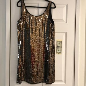 NWT DKNY gold sequins dress Medium